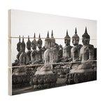 Zwart-wit foto van Boeddhas - Hout