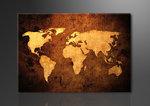 Wereldkaart - Canvas Schilderij 120 x 80 cm