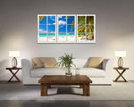 Strandvenster - Canvas Schilderij Drieluik 160 x 90 cm