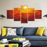 Avondrood - Canvas Schilderij Vijfluik 160 x 80 cm