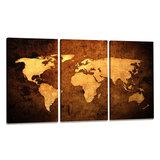 Wereldkaart - Canvas Schilderij Drieluik 160 x 90 cm_