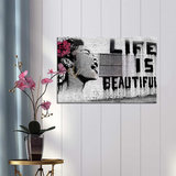 Banksy Life is Beautiful - Canvas Schilderij 80 x 60 cm_