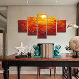 Avondrood - Canvas Schilderij Vijfluik 160 x 80 cm_