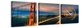 Golden Gate Bridge - Canvas Schilderij Klok Vierkanten