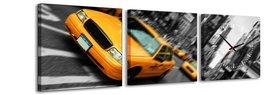 NY Taxi - Canvas Schilderij Klok Vierkanten