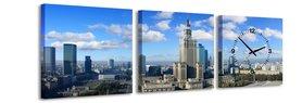 Warschau - Canvas Schilderij Klok Vierkanten