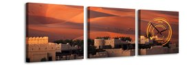 Woestijn - Canvas Schilderij Klok Vierkanten