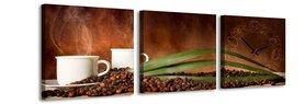 Koffie - Canvas Schilderij Klok Vierkanten