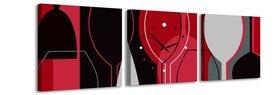 Wijnglas - Canvas Schilderij Klok Vierkanten