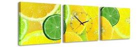 Citrus - Canvas Schilderij Klok Vierkanten
