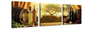 Wijn - Canvas Schilderij Klok Vierkanten