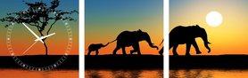 Olifanten - Canvas Schilderij Klok Vierkanten