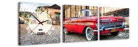 Rode Chevrolet - Canvas Schilderij Klok Vierkanten
