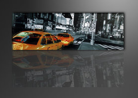 New York Taxi - Canvas Schilderij Panorama 120 x 40 cm