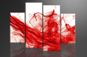 Rode Rook - Canvas Schilderij Vierluik 130 x 80 cm