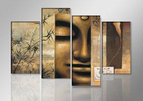Buddha - Canvas Schilderij Vierluik 130 x 80 cm