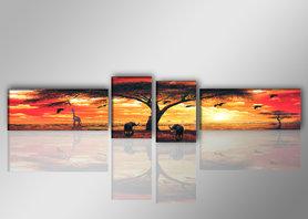 Afrika - Canvas Schilderij Vierluik 145 x 30 cm