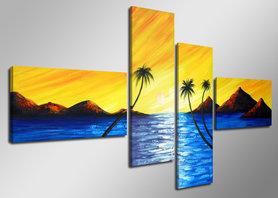 Palmbomen - Canvas Schilderij Vierluik 160 x 70 cm