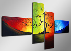 Gekleurde Bomen - Canvas Schilderij Vierluik 160 x 70 cm