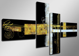 Abstract 'Laura' - Canvas Schilderij Vierluik 160 x 70 cm