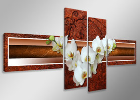 Orchidee - Canvas Schilderij Vierluik 160 x 70 cm