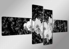 Zwart Wit - Canvas Schilderij Vierluik 160 x 70 cm