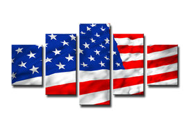 Amerikaanse Vlag - Canvas Schilderij Vijfluik 100 x 50 cm