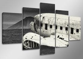 Vliegtuig - Canvas Schilderij Vijfluik 160 x 80 cm