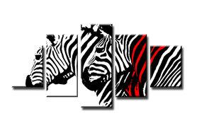 Zebra - Canvas Schilderij Vijfluik 160 x 80 cm