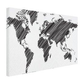 Wereldkaart met gekraste landen - Canvas
