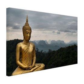 Boeddha met bewolkte lucht - Canvas