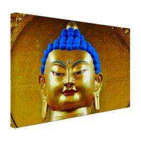 Goud met blauw Boeddha beeld - Canvas