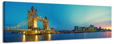 Tower Bridge - Canvas Schilderij Panorama 158 x 46 cm