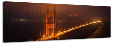 Golden Gate Bridge - Canvas Schilderij Panorama 158 x 46 cm