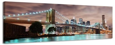 Brooklyn Bridge - Canvas Schilderij Panorama 158 x 46 cm