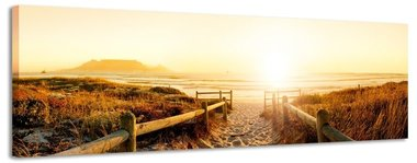 Zonnig strand - Canvas Schilderij Panorama 158 x 46 cm