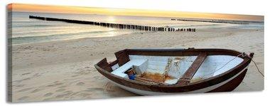 Boot bij zonsondergang - Canvas Schilderij Panorama 158 x 46 cm