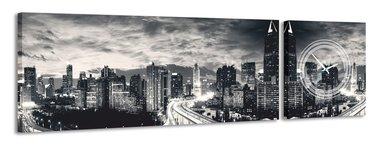 Zwart-witte stad - Canvas Schilderij Klok Panorama