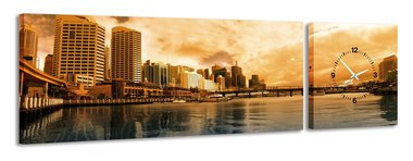 Darling Harbour - Canvas Schilderij Klok Panorama
