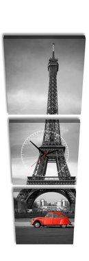 Eiffeltoren - Canvas Schilderij Klok Vierkanten