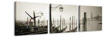 Venetie - Canvas Schilderij Klok Vierkanten