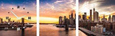 Brooklyn Bridge - Canvas Schilderij Klok Vierkanten