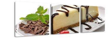 Cheesecake - Canvas Schilderij Klok Vierkanten