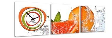 Sinaasappel - Canvas Schilderij Klok Vierkanten
