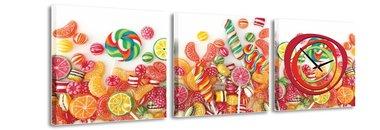 Snoepjes - Canvas Schilderij Klok Vierkanten