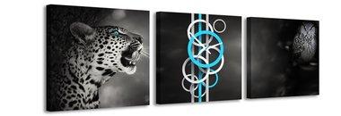 Cheetah en uil - Canvas Schilderij Klok Vierkanten