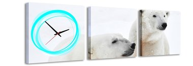 IJsberen - Canvas Schilderij Klok Vierkanten