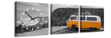 VW busje - Canvas Schilderij Klok Vierkanten