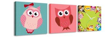 Gekleurde uilen - Canvas Schilderij Klok Vierkanten