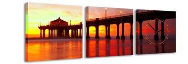 Zonsondergang - Canvas Schilderij Klok Vierkanten